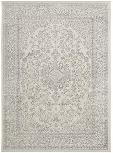 Diagona Traditional Medallion Area Rug, 63 W x 83 L, Ivory Gray