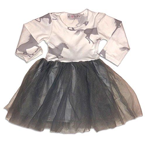Sol Baby Grey Unicorn Horse Long Sleeve Tutu Dress-3/4T-Grey