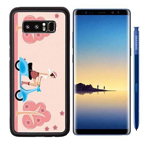 Liili Premium Samsung Galaxy Note8 Aluminum Backplate Bumper Snap Case Scooter girl on cherry blossoms Illustration vector IMAGE ID 9216161