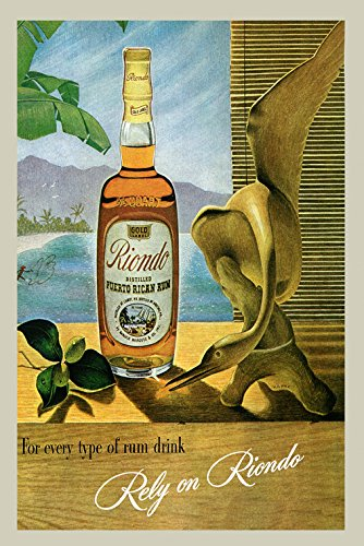 Puerto Rico Usa Rum (Rely on Riondo Puerto Rico Rican Rum Drink Vintage Poster Repro 16