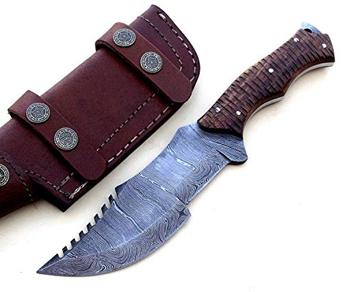 Poshland Knives TR-2153, Custom Handmade DEMASCUS STELL Full Tang Tracker Knife -BEUTIFULL Rose Wood Handle