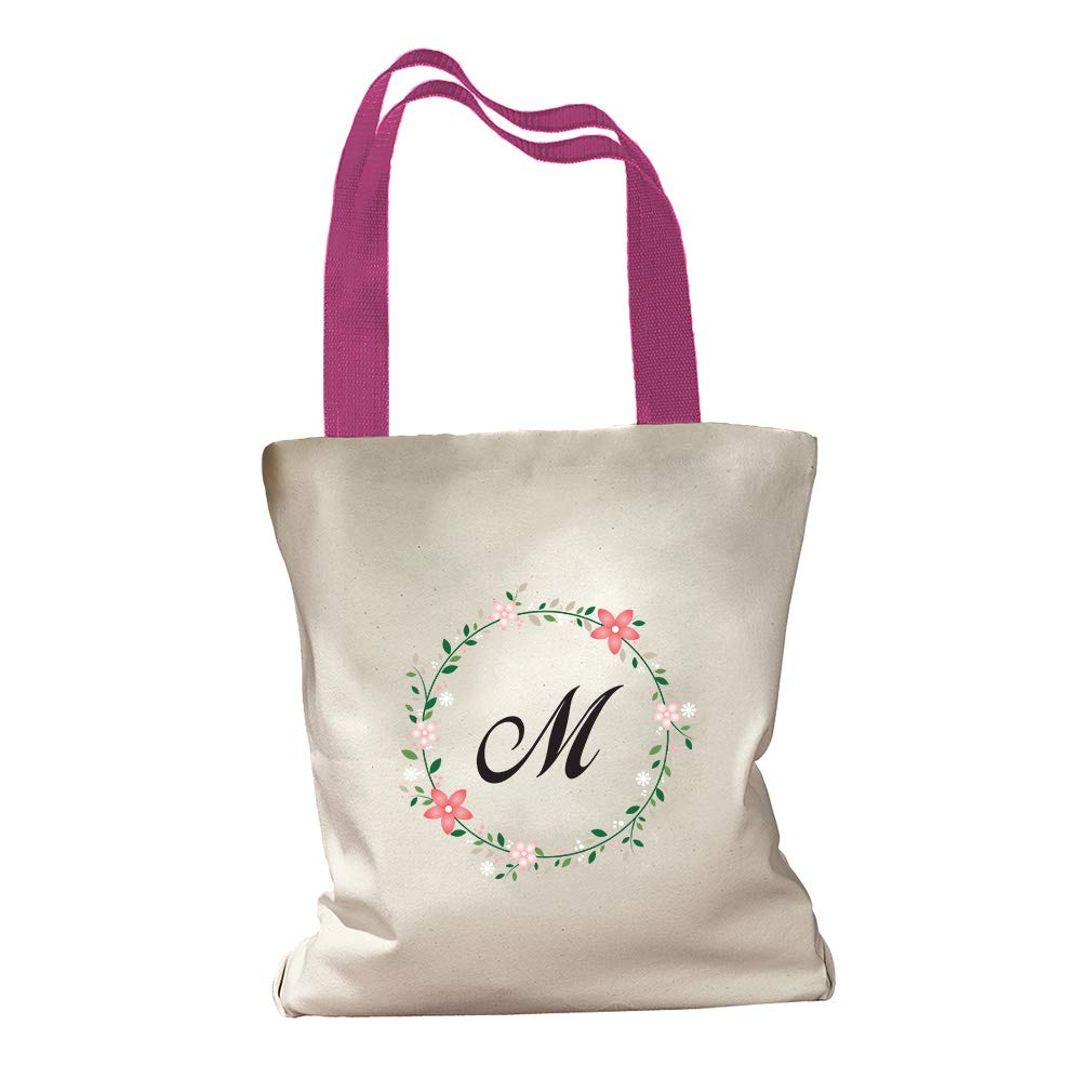 08b993d29 Amazon.com: Personalized Custom Text Floral Circle Cotton Canvas Colored Handles  Tote Bag - Black: Clothing