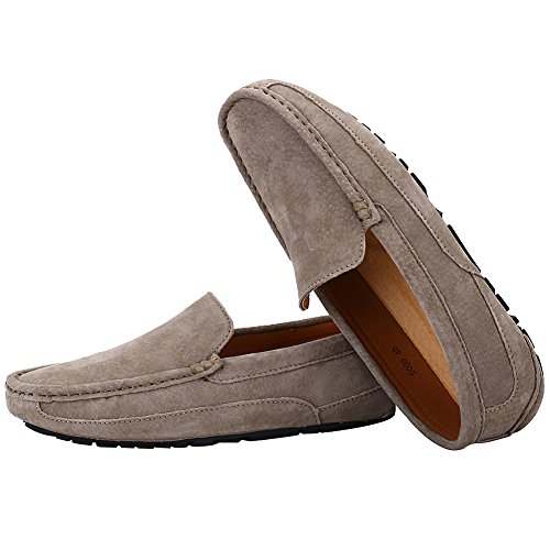 Flats rismart Trendy on Shoes Suede Loafers Driving Mens Slip Car Leather Khaki Comfort PwH4Pqr