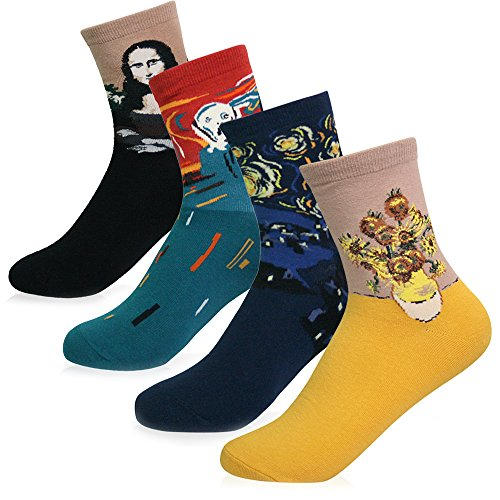 KONY Women's 4 Pairs Funny Famous Oil Painting Art Printed Casual Crew Socks, Artist Fashion Socks Size 6-9 (Famous Painting - 4 pairs) (Artists Paintings Floral)