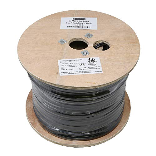 (Lightkiwi W6639 16AWG 2-Conductor 16/2 Direct Burial Wire for Low Voltage Landscape Lighting, 500ft)