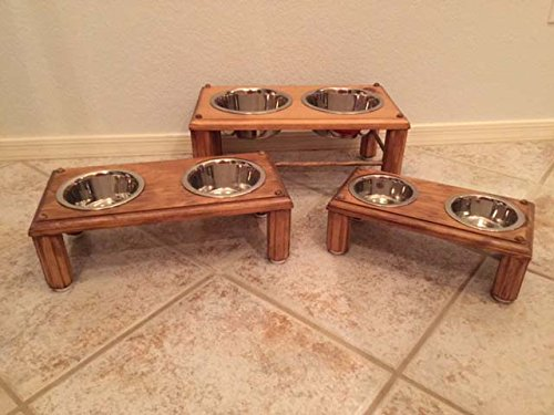 Wooden Dog Feeder: Double Extra-Large (not pictured) by Three Boys of Scottsdale Pet Boutique