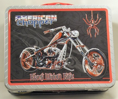 American Chopper Black Widow Bike Embossed Tin Carry (Black Widow Choppers)