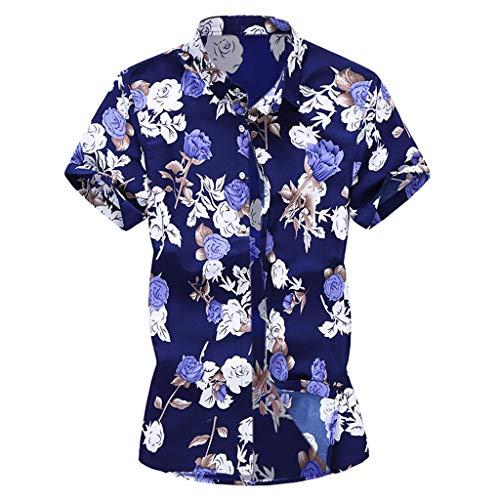 (Men Hawaiian Shirt, Casual Summer Printed Button Down Short Sleeve T-Shirt Beach Daily Top Vacation Blouse Blue,M)