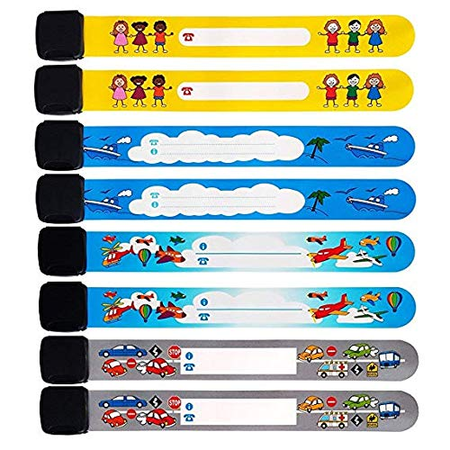 ID Wristband Luchild Emergency ID Bracelet for Kids Safety 8 Pack Waterproof and Universal Alert ID bands for Child Identification