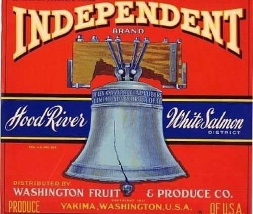 INDEPENDENT Yakima Apples Washington Fruit Box Label Liberty Bell