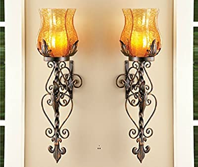 Set of 2 Bronze Elegant Scrollwork Decorative Hurricane Amber Glass Candle Holder Vintage Style