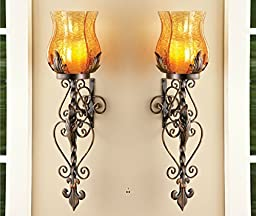 Set of 2 Bronze Elegant Scrollwork Decorative Hurricane Amber Glass Candle Holder Sconce Metal Vintage Style Decorative Home Accent Decoration by KNL Store