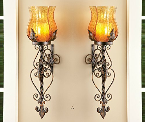 Set of 2 Bronze Elegant Scrollwork Decorative Hurricane Amber Glass Candle Holder Sconce Metal Vintage Style Decorative Home Accent Decoration by KNL Store (Victorian Hanging Bronze)