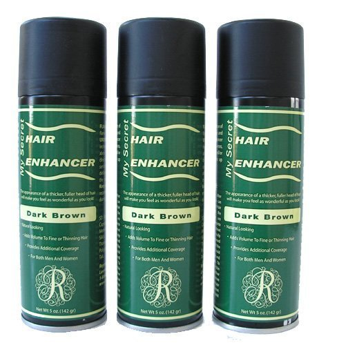Hair Enhancer - My Secret Hair Enhancer Spray for Fine or Thinning Hair - 5oz Each - 3 Cans - Dark Brown