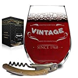 1968 50th Birthday Vintage Wine Glass - With FREE Bottle Opener - for Dad, Mom, Golden Anniversary - Classic White 50 Year Old Aged to Perfection Insignia - With Premium Gift Package by Desired Cart