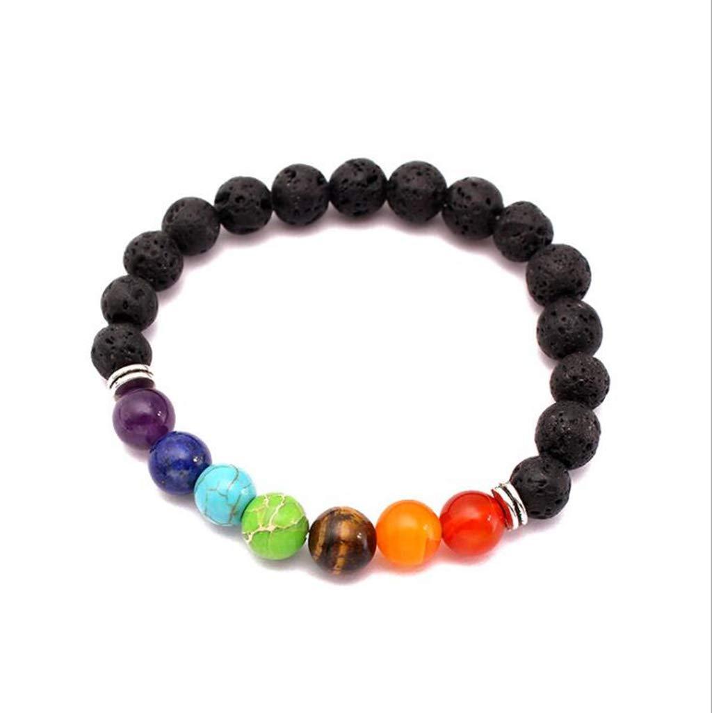 Fashion 8mm 7 Chakra Stone Semi-Precious Stones Colorful Beads Bracelet Yoga Energy Healing Bracelets for Women Men Best Gift