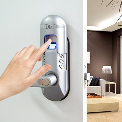 Digi Biometric Fingerprint Door Lock 6600-98 with Keypad (Left Handle, Satin Chrome)