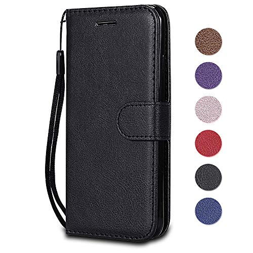 Huawei Mate 10 Pro Case, The Grafu Shockproof Leather Wallet Flip Case with [Card Slots] [Wrist Strap] Stand Function Cover for Huawei Mate 10 Pro, Black