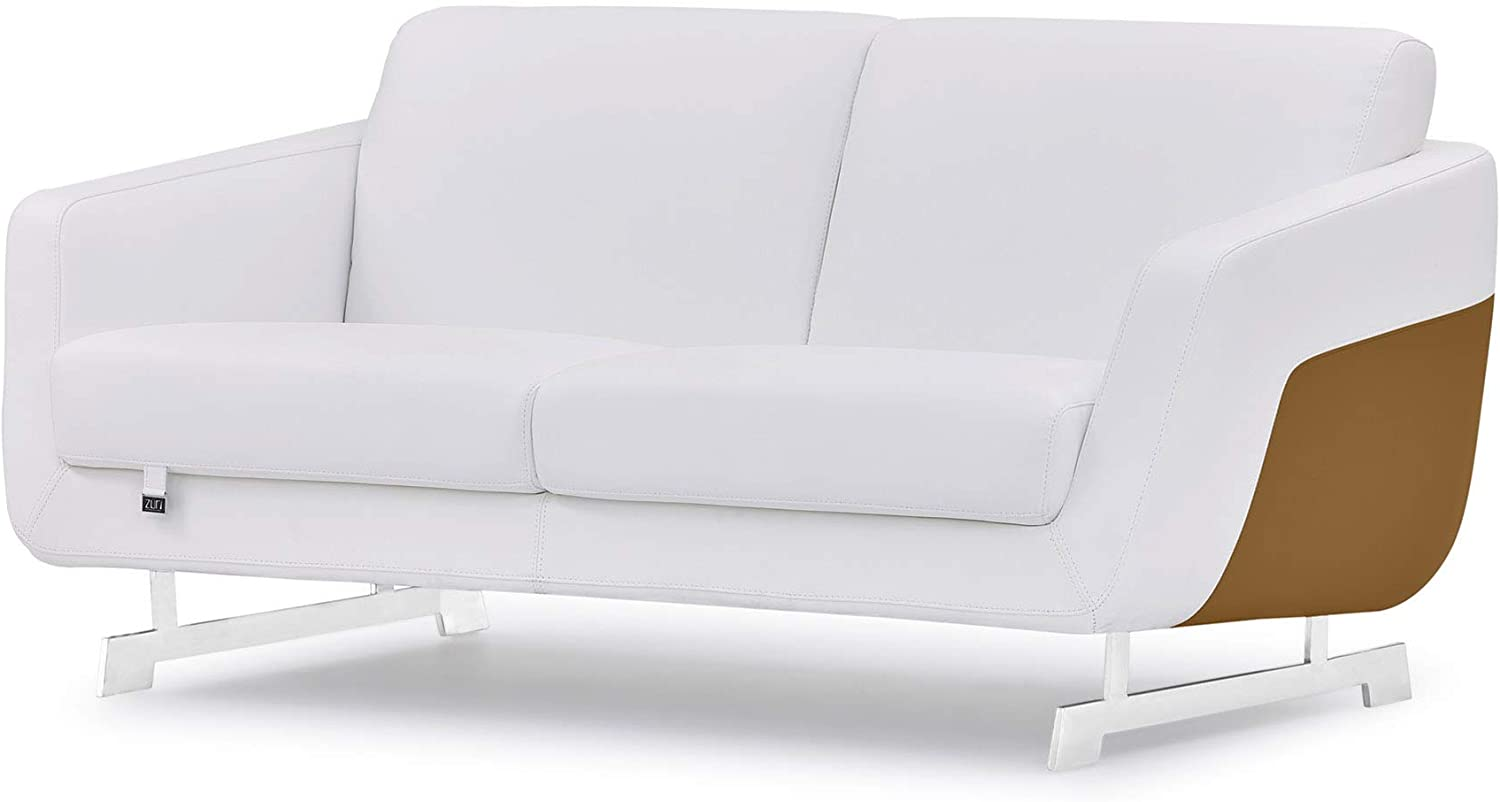 Zuri Furniture Modern Armondo Loveseat in Two Tone White Microfiber Leather and Camel Genuine Leather