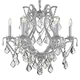 Swarovski Crystal Trimmed Chandelier! White Wrought Iron Crystal Chandelier Lighting H 19″ W 20″ Swag Plug In-Chandelier W/ 14′ Feet Of Hanging Chain And Wire! For Sale