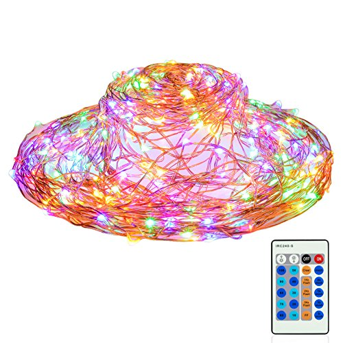Reson Outdoor String Lights,Dimmable LED Starry String Lights with Remote Control, 99ft/30m Multicolor 300LEDs Waterproof Copper Wire Light Decorative Lights for Bedroom,Patio,Wedding, Party