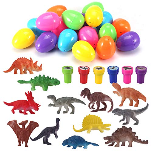 Easter Eggs Filled with Mini Dinosaurs and Mini Dinosaur Stampers (18 ()