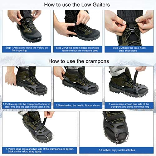 GOKKCL Traction Cleats Ice Cleats Ice Snow Grips Crampons with Anti Slip 18 Stainless Steel Spikes for Walking,Jogging, Climbing and Hiking,Free Low Gaiters,Carryying Bag,Strap