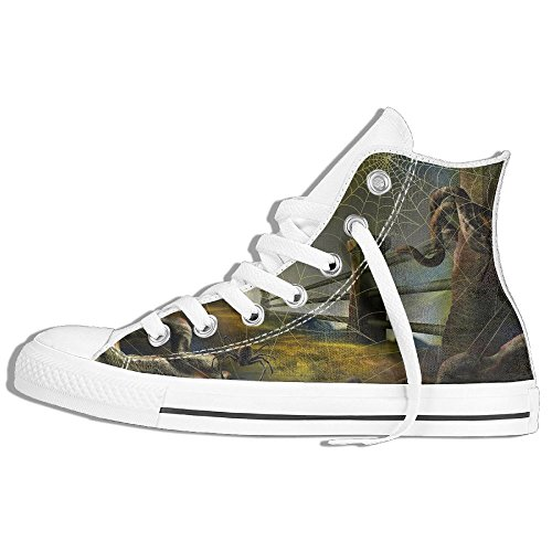 Hallowmas Halloween High-Cut Canvas Shoes Unisex Stylish Sneaker All-Season Casual Hi-Top Trainers For Men And Women ColourName (Parks And Recreation Halloween Gif)