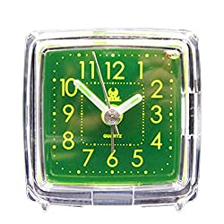 Non Ticking Analog Alarm Clock with Nightlight and Snooze, Kaimao Mini Cartoon Travel Clocks AA Battery Powered