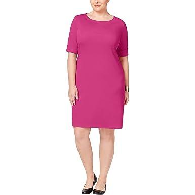 2b7dff70445d4 Image Unavailable. Image not available for. Color  Karen Scott Plus Size  Elbow-Sleeve T-Shirt Dress ...