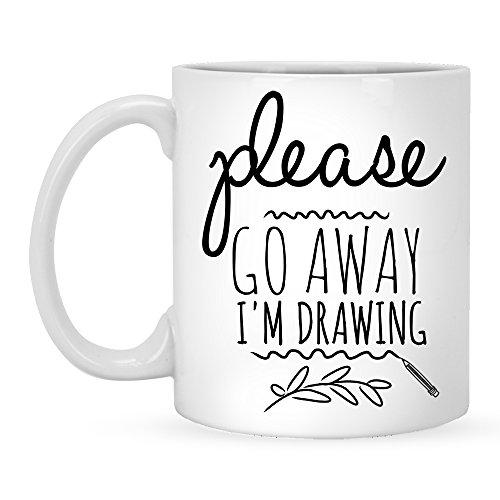 - Please Go Away I'm Drawing - Funny Coffee Mug 11 oz For Artists, Gift Idea Artist Mug