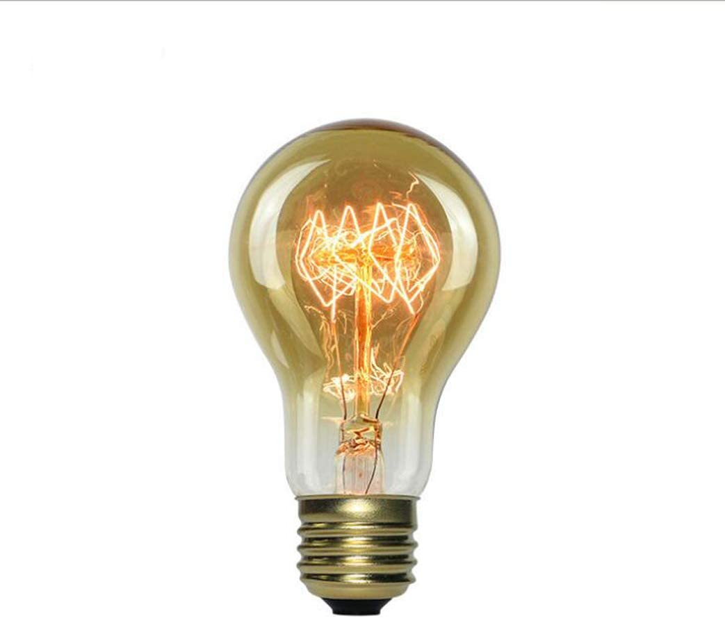 6-Pack 110-240V E26 // E27 40W Amber Glass 2200K Warm White Light Source A19 Antique Style Tungsten Filament Bulb HaoHZ Vintage Incandescent Edison Light Bulb