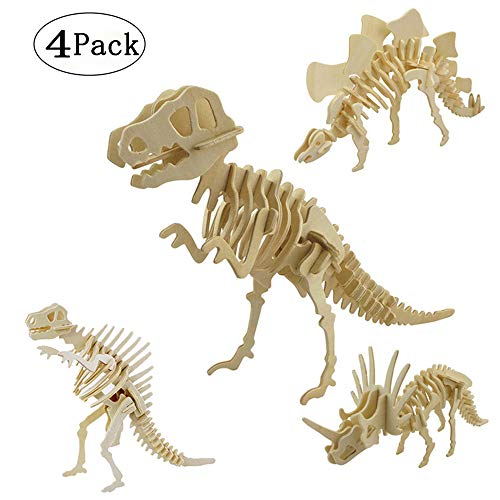 3D Wooden Puzzle Toy, Simulation Dinosaur Skeleton Puzzle DIY Wooden Educational Toy for Kids