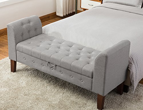 Tufted Storage Ottoman Bench Upholstered Bedroom Bench for Entryway, Hallway, Living Room(53005-B)