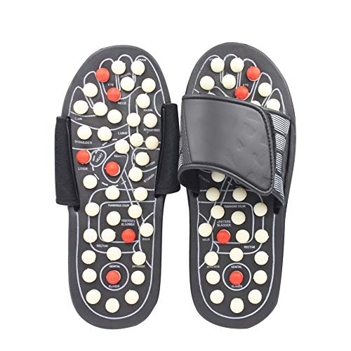 MAYPIE Acupressure Massage Slippers Therapeutic Reflexology Sandals for Foot Acupoint Massage Shiatsu Relaxation Gifts Black
