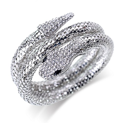 OUMOU Snake Bracelet Rhinestone Curved Open Cuff Flexible Stretch Snake Bangle Crystal Diamond Snake Wrap Bracelet for Women