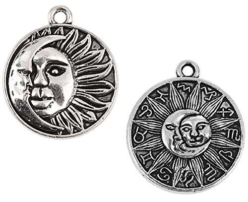 Sun and Crescent Moon Face Pendant Charms, 40 Pack - Wholesale Bulk ()
