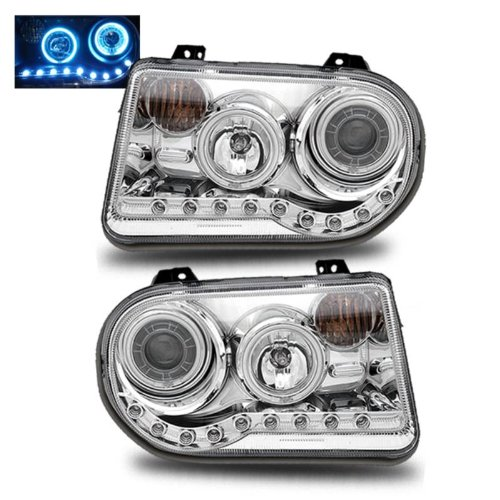 SPPC Projector Headlights G2 L.E.D Chrome Assembly Set (CCFL Halo) (W/O Hid) For Chrysler 300C - (Pair) Driver Left and Passenger Right Side Replacement Headlamp