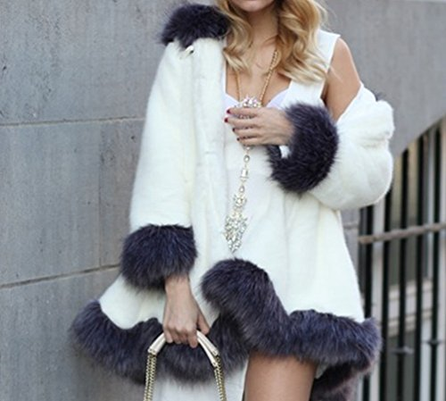 Chaud Longue Femmes Manche Manteau Casual Blanc Parka YiLianDa Fausse Outwear Fourrure I8aMST
