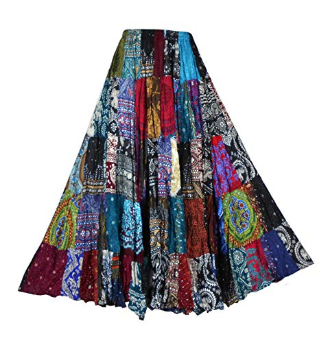 BONYA Women Hippie Boho Colorful Patchwork Tiered Elastic Stretch Waist Skirt (Color34)