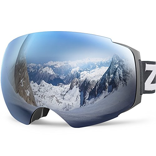 Zionor X4 Ski Snowboard Snow Goggles Magnet Dual Layers Lens Spherical Design Anti-Fog UV Protection Anti-Slip Strap for Men Women (VLT 8.39% Matte Grey Frame Grey Revo Silver Lens)