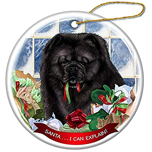 Cheyan Black Chow Chow Dog Porcelain Hanging Ornament Pet Gift Santa I Can Explain for Christmas Tree and Year Round