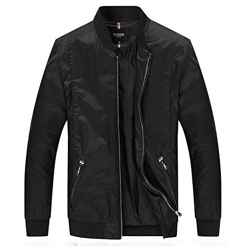 Uomini giacca di sovrarivestimento autunno gioventù puro cotone Sau San leisure Mock-collo camicia, nero ,XL