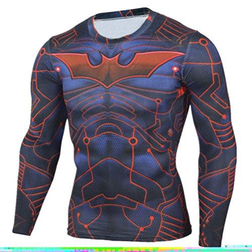 Men's Compression Shirt Slim Fit,Bat Men Quick-dry Workouts Running Tee -