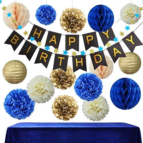 InBy Navy Blue Birthday Party Decoration Kit for Boy - Happy Birthday Banner, Tissue Paper Pom Pom, Lantern, Honeycomb Ball, Start Garland - Royal Blue, Gold, Ivory, Peach, Black