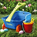 """Personalized Plastic Wagon Set with handled sand bucket, shovel, and 3 sand molds - 9"""" x 11"""" x 18"""", Perfect Boys' Easter Basket, Personalized with your Kid's Name"""