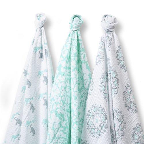 SwaddleDesigns SwaddleLite Marquisette Blankets SeaCrystal
