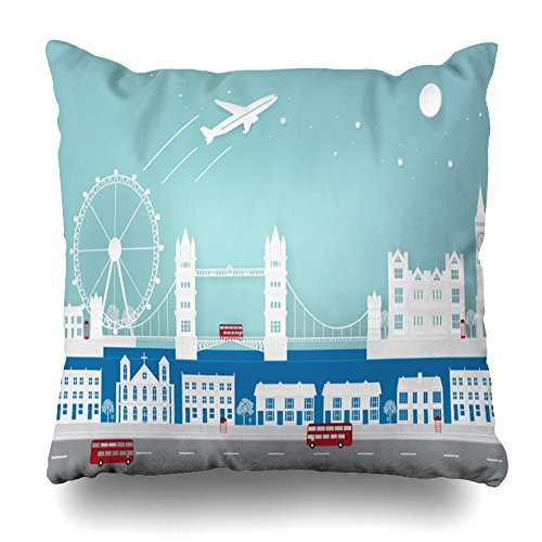 lows Covers 18 x 18 inch Throw Pillow Covers,Paper Art in Travel to London Pattern Double-Sided Decorative Home Decor Pillowcase Garden Sofa Bedroom Car Nice Gift ()