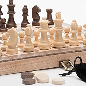 """A&A 11.5"""" Wooden Chess Set - 2.5"""" King Height Wooden Chess Pieces / German Knight Staunton Wooden Chessmen - Classic Board Game"""