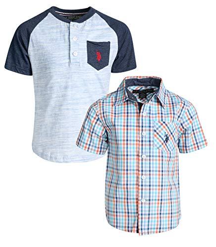 Clothes 2 Piece Western (U.S. Polo Assn. Boy's Short Sleeve Button Down Shirt 2 Piece Set (Navy/Plaid, 4))